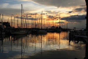 Sunset at the marina in Fairhope, Alabama